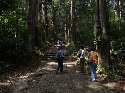 熊野古道大門坂にてガイドとツアー参加女性