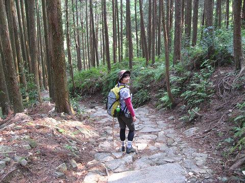 熊野古道伊勢路・馬越峠にて振り返るツアー参加女性