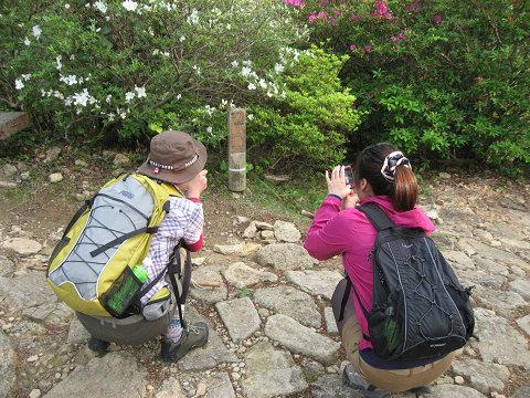 熊野古道伊勢路・馬越峠の降り口で道標の写真を撮る女子旅2人