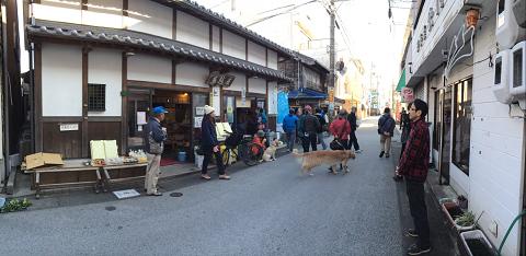 尾鷲市の熊野街道・中井町通りを歩くツアー参加者と犬