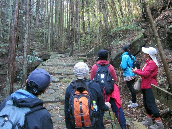熊野古道伊勢路・松本峠にてガイドとツアー参加者