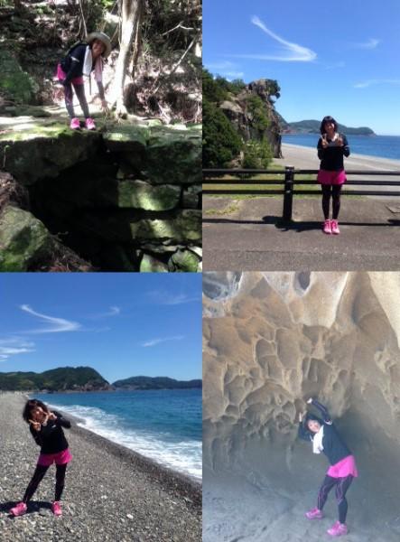 熊野古道松本峠と獅子岩と七里御浜と鬼ヶ城にて一人旅女性の写真