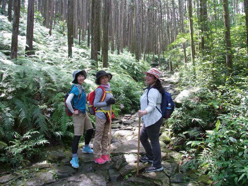 熊野古道伊勢路・馬越峠エコツアー、石畳に立つ女性3人