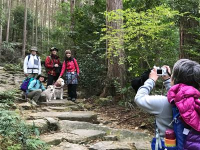 熊野古道伊勢路・馬越峠エコツアー、石畳で犬連れの参加者の写真を撮る女性ガイド